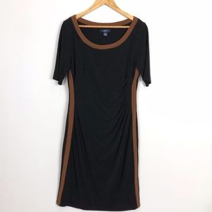 CHAPS Scoop Neckline Shift Dress Black Brown Large